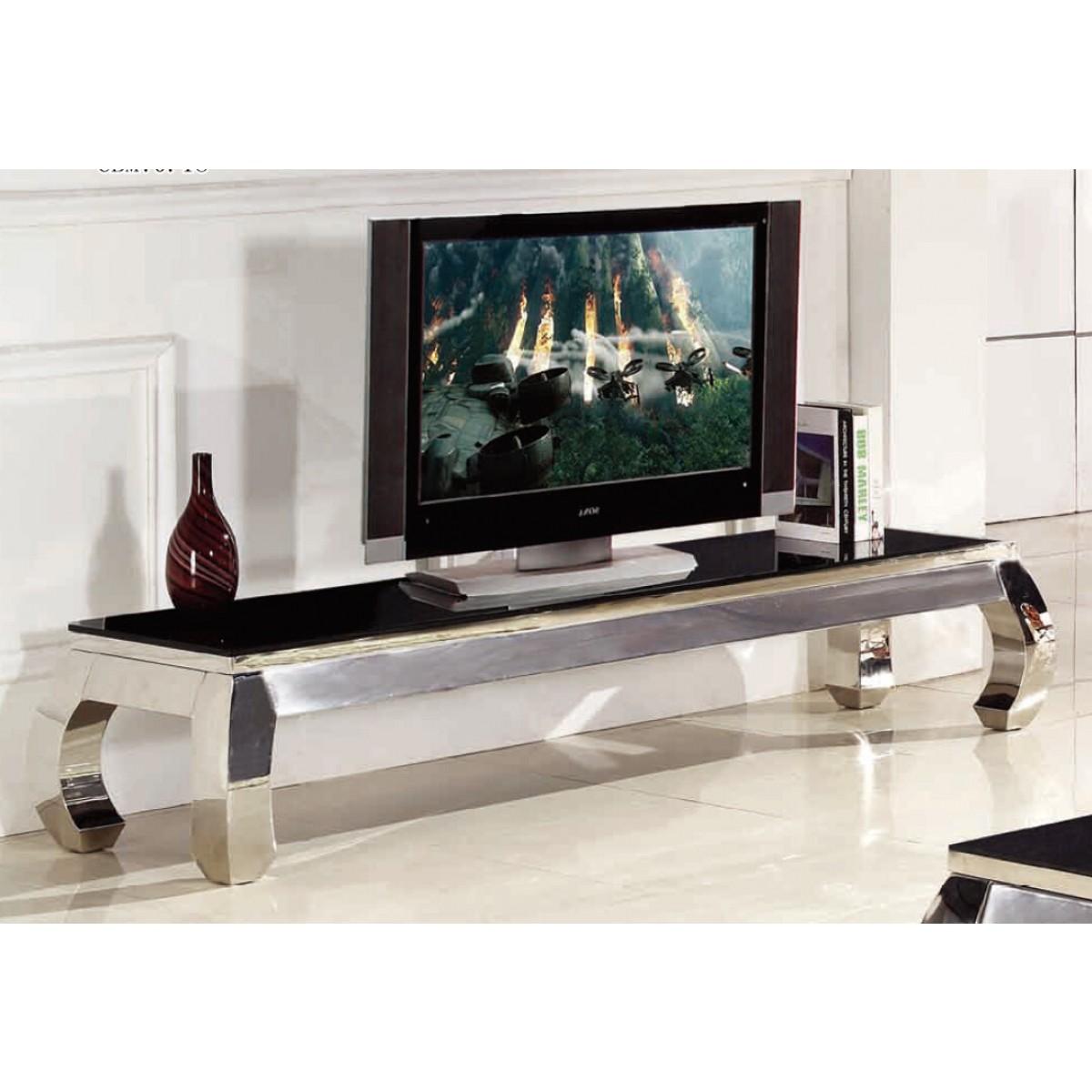 meuble tv en inox et verre palace
