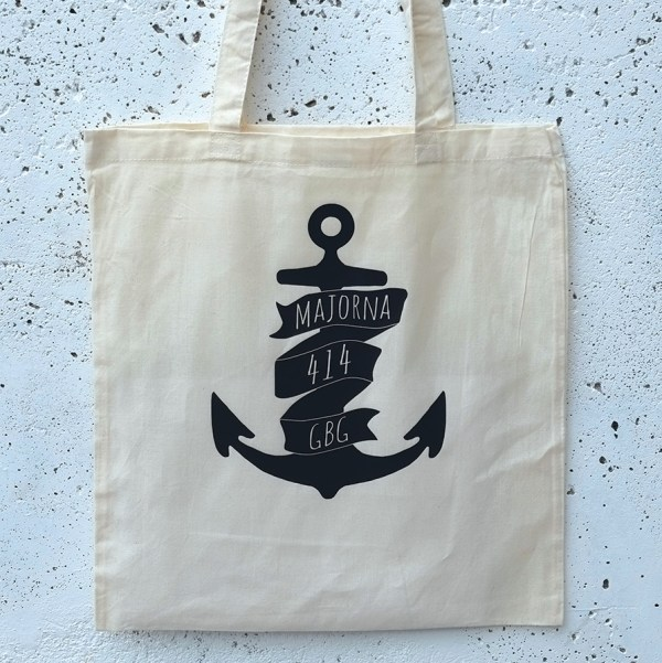 Tote bag Majorna anchor white