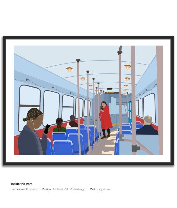 Inside the tram