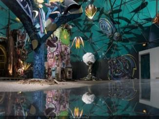 Une fresque representant la forêt escargot.