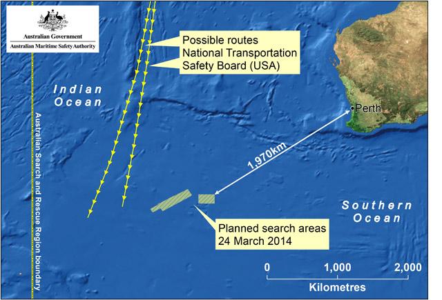 This handout Satellite image made available by the AMSA (Australian Maritime Safety Authority) shows a map of the planned search area for missing Malaysian Airlines Flight MH370 on March 24, 2014.