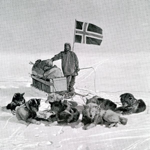 Captain Roald Engelbregt Gravning Amundsen at the South pole under the Norwegian flag, December 14, 1911.