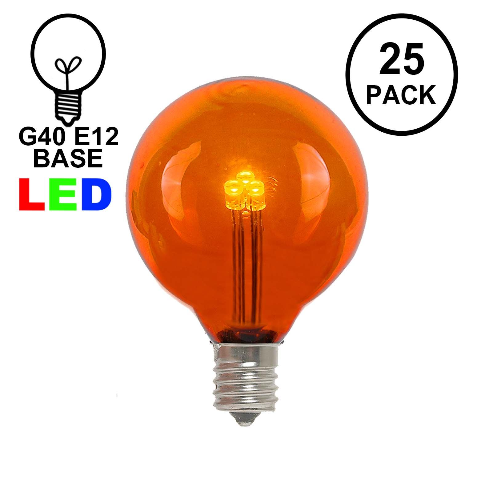 hight resolution of picture of orange amber g40 glass led replacement bulbs 25 pack