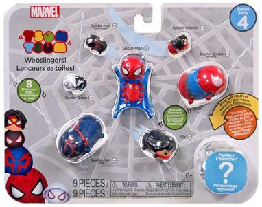 Marvel Tsum Tsum 8 Pack Series 4 Figures – Webslingers Spider-Man - webslingers spider-man package marvel tsum tsum - pop toys