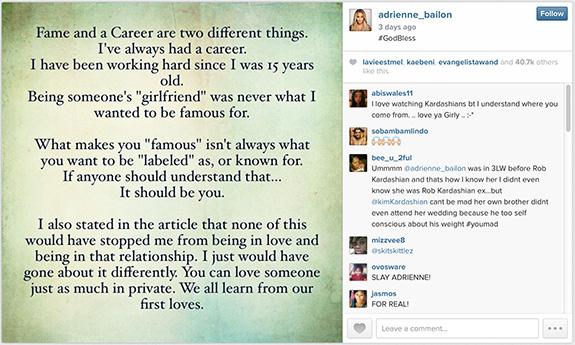 Adrienne Bailon Instagrammed a response to Kim Kardashian