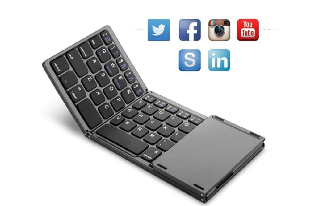 Foldable Bluetooth Keypad with Touchpad