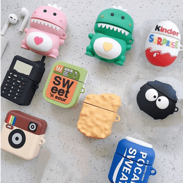 3D Cartoon Dragon funny cute silicone Case For Apple Airpods 2 1 cover For Air pods 1 2 Case Wireless charging soft Cover Box