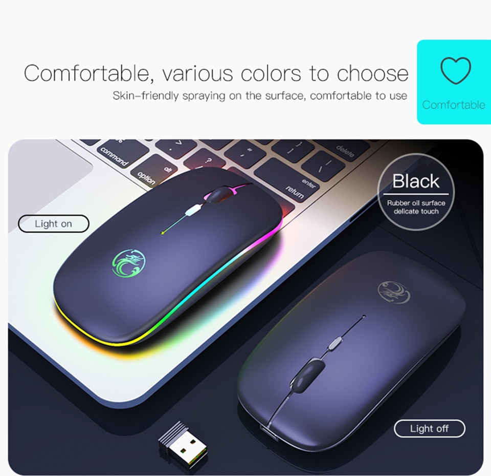 Wireless Mouse RGB Bluetooth 5.0 Mouse Computer Mouse Ergonomic Silent Mause Rechargeable Luminous Optical Mice For PC Laptop