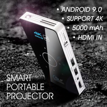 Mini 4K DLP Android 9.0 Projector WiFi Bluetooth Portable Outdoor Movie Home Cinema For Smartphone Miracast Airplay