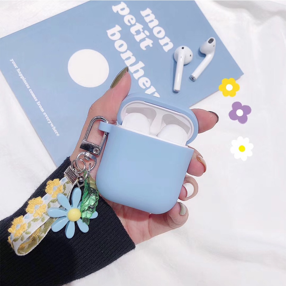 Luxury Cute Korean Flower Decoration Case for Apple Airpods Case ornament Accessories Bluetooth Earphone Silicone Cover Key Ring