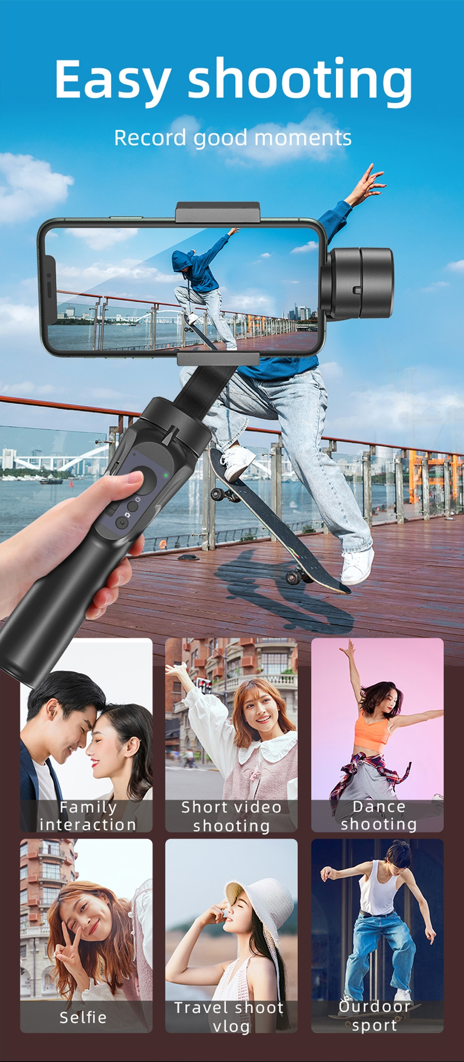 FCCWO H4 3 Axis USB Charging Video Record Support Universal Adjustable Direction Handheld Gimbal Smartphone Stabilizer Vlog Live
