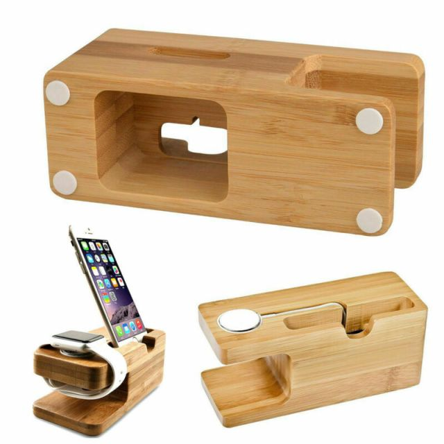 Charging Dock Stand Station Bamboo Base Charger Holder For Apple Watch iWatch iPhone Bamboo