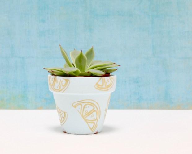 DIY stamped flower pots | Popcorn & Chocolate