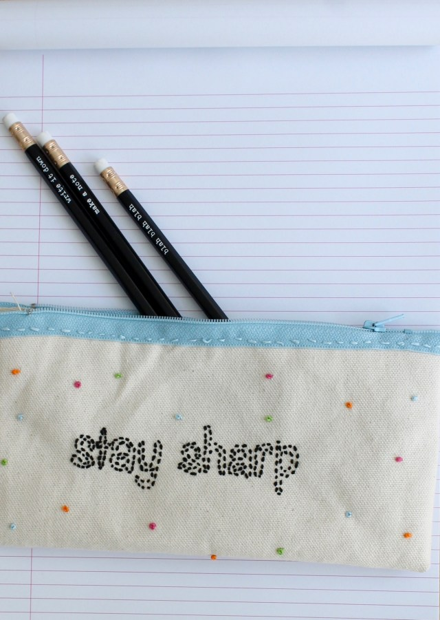 Embroidered pencil case   Popcorn & Chocolate