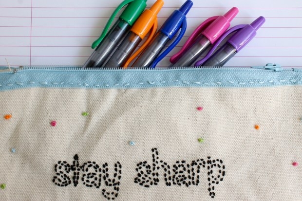 DIY 'Stay Sharp' Embroidered Pencil Case | Popcorn & Chocolate