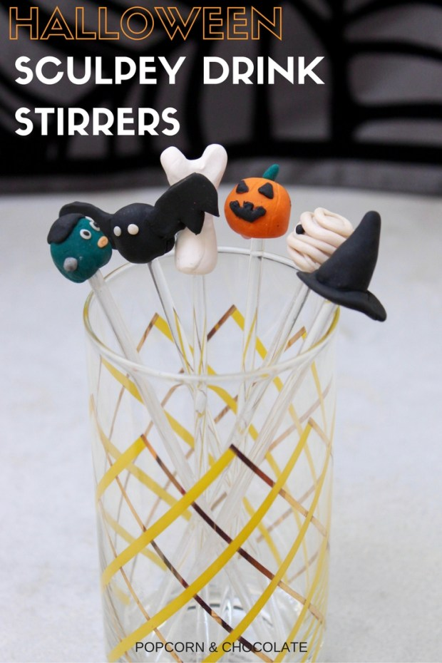 Halloween Sculpey Drink Stirrers | Popcorn & Chocolate