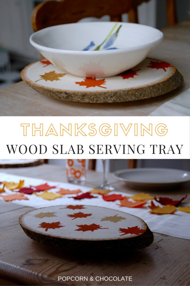 Thanksgiving wood slab tray