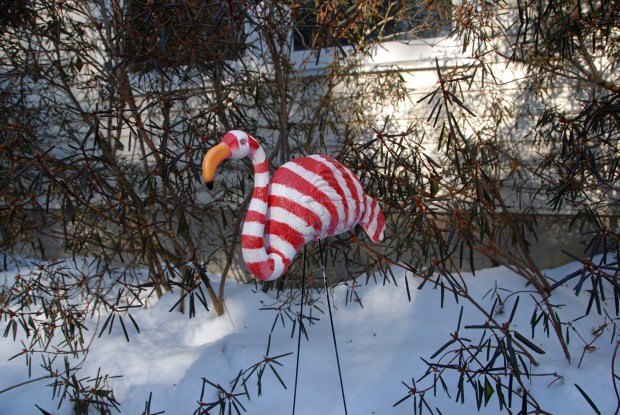 Candy Cane Lawn Flamingos | Popcorn and Chocolate