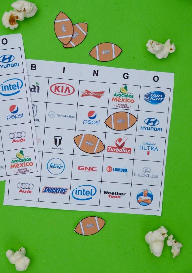 Free Super bowl commercial bingo boards