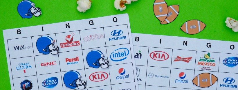 Printable Super Bowl 51 Commercial Bingo Boards   Popcorn and Chocolate