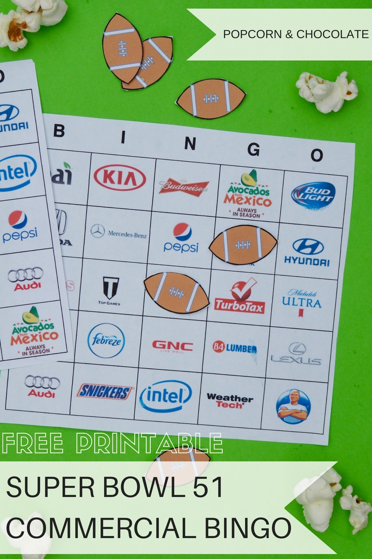 graphic about Superbowl Boards Printable identified as Totally free Printable Tremendous Bowl 51 Industrial Bingo Playing cards - Had been