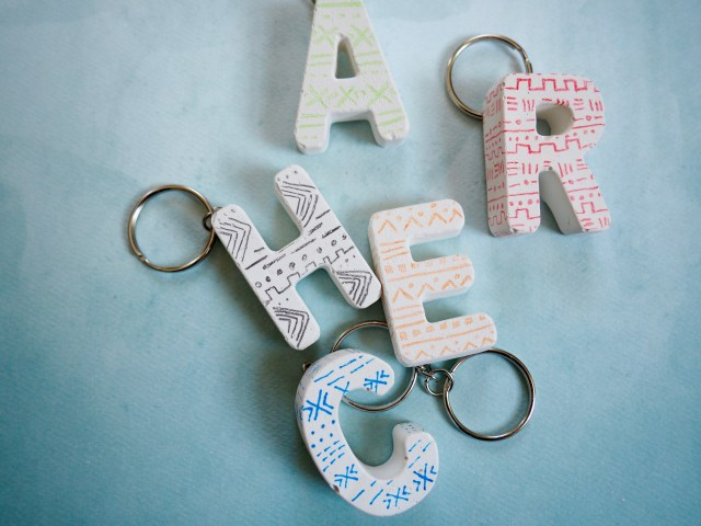 Mud Cloth Patterned Plaster Keychain | Popcorn and Chocolate