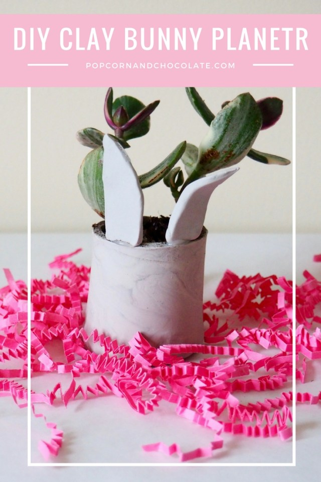 Learn how to make this DIY clay bunny planter by clicking through! | Popcorn and Chocolate
