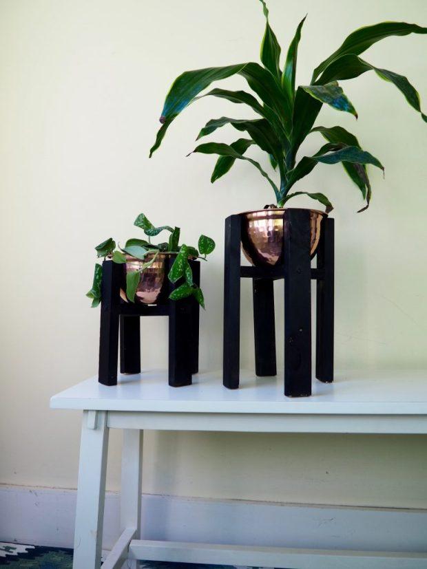 Copper Mid-Century Modern Planters DIY | Popcorn and Chocolate