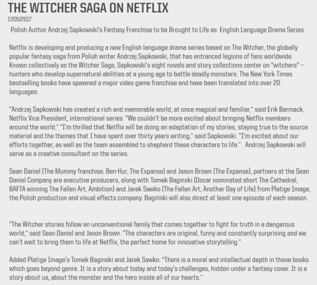 The Witcher, Platige Image S.A.