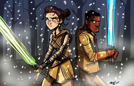 Rey and Finn from Star Wars: The Force Awakens