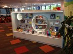 Displays are regularly updated and allow views through to other library spaces, increasing the sense of open visibility and space.