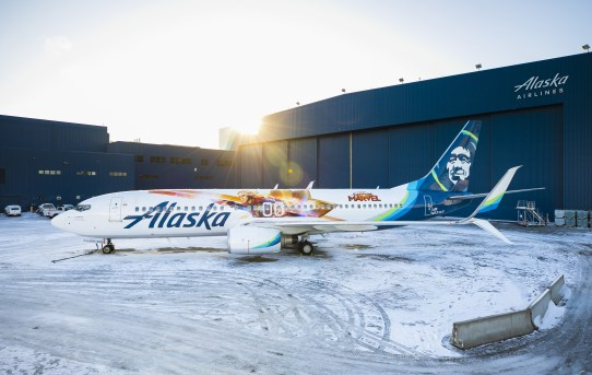 Marvel Studios' first female-lead Super Hero Captain Marvel takes to the skies with Alaska Airlines