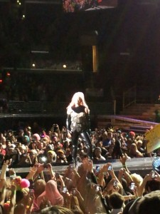 Lady Gaga being worshiped at L.A.'s Staples Center on Sunday, January 20