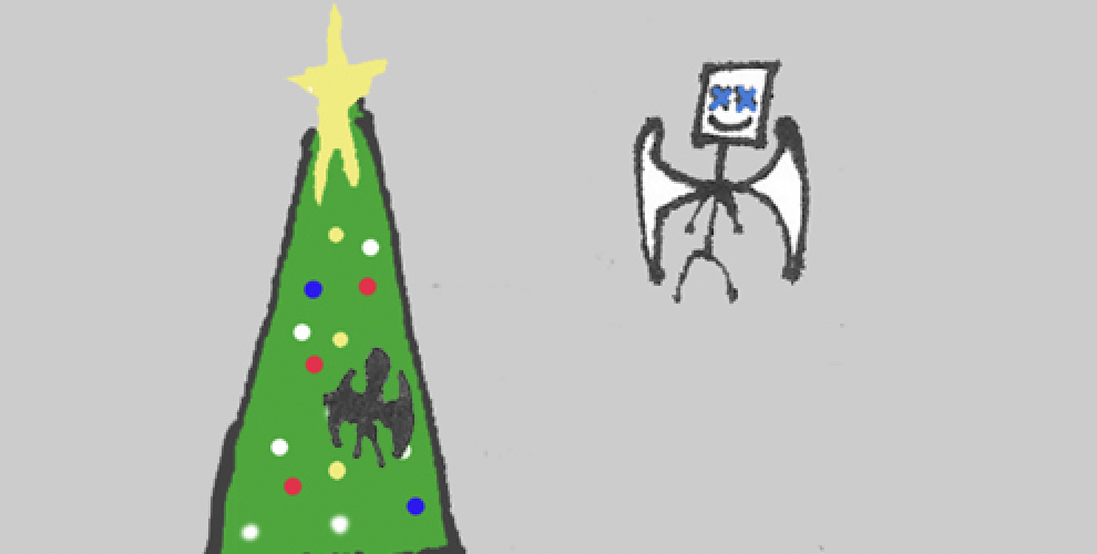 By the Christmas tree, Metal Dad begins a conversation with the ghost of his miscarried fetus.