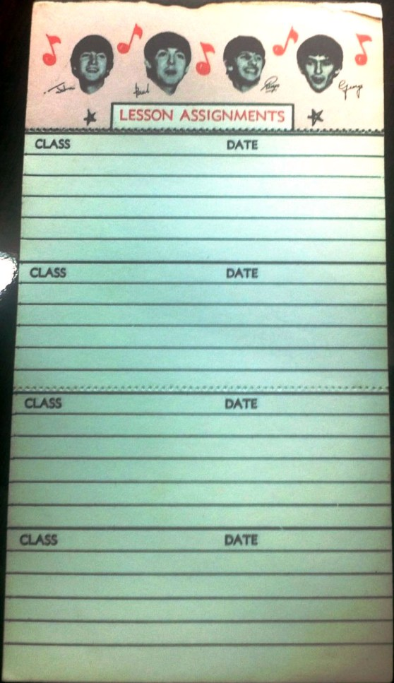 Beatles Lesson Assignment Pad
