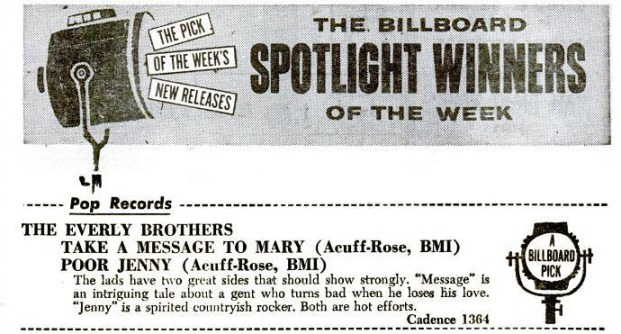 "Billboard magazine review of ""Take a Message to Mary"" and ""Poor Jenny"" - March 1959"