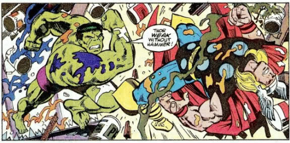 Hulk fighting Thor from Thor #385