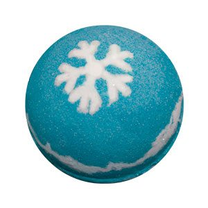 Round bath bomb. It is several layers of various shades of icy blues and white with a snowflake symbol on the top done in white. There is white and blue glitter mixed in.