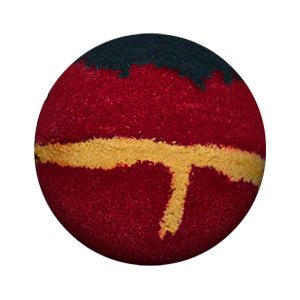 Round bath bomb. It is predominantly a burgundy color with black on top meant to be hair. Around the center is a golden horizontal stripe with a vertical 'hanging' piece meant to be like a belt.