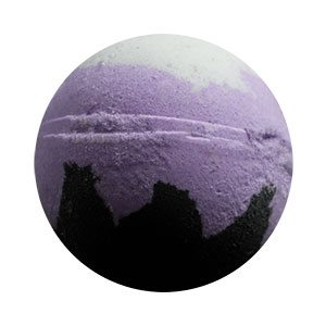 Round bath bomb. The bottom is black, made to look like an octopi's tentacles. The middle is a lavender purple and a splotch of white on top meant to represent Ursula's hair.