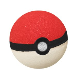 Round bath bomb. The bottom half is white, the top half is red. There is a band of black with a black circle in the middle and a silvery white circle painted in that. It resembles a Pokeball.