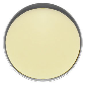 Top view of a round silver tin filled with a smooth eggshell colored lotion bar.