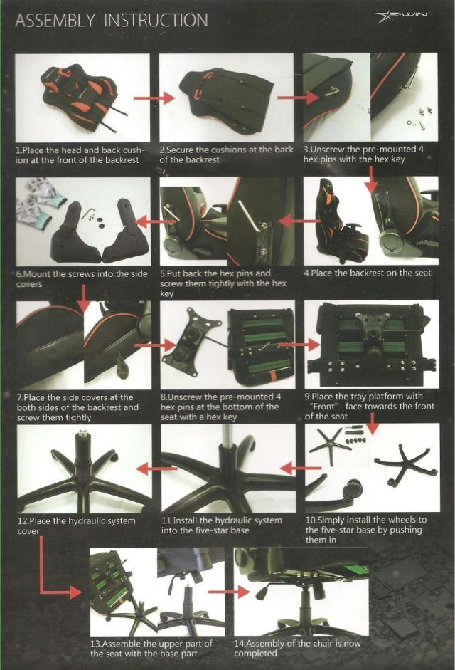 The EWin Calling Series Ergonomic Computer Gaming Office Chair - Assembly Instructions