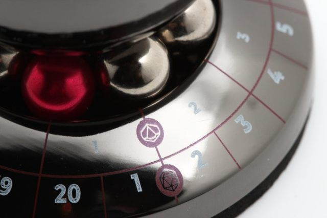 A Close-up of the RPG Dice Spinner Ball Bearings and Result Rings
