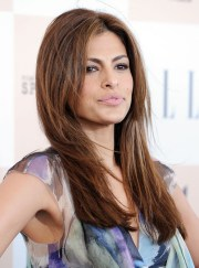 eva mendes easy long layered hairstyle