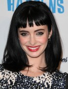 Black Medium Straight Hairstyles with Blunt Bangs