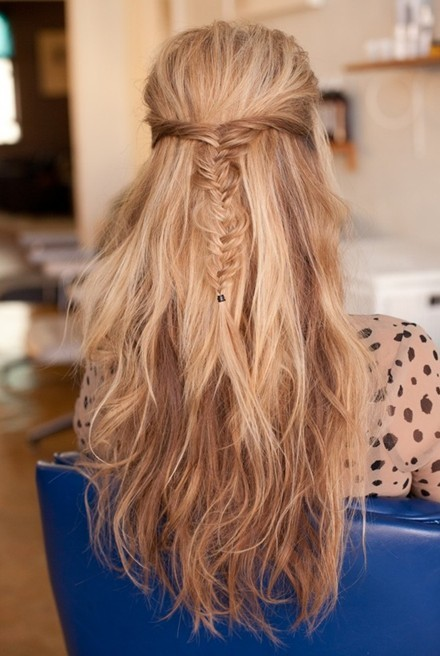 Cool Hairstyles Up Messy Fishtail Braid Half Up Half Down Hairstyles Long