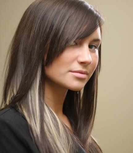 Long Straight Hairstyles Peekaboo Hair Highlights PoPular Haircuts