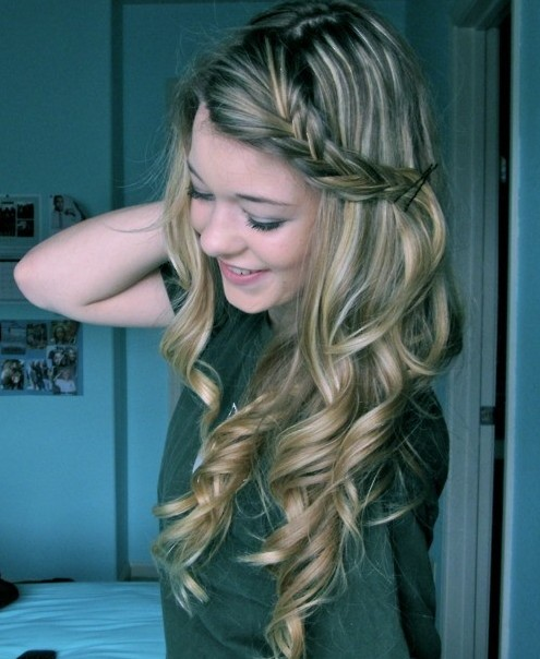 Long Curly Hairstyles with Braids