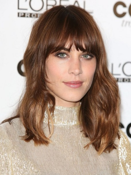 2014 Alexa Chung Hairstyle: Heavy Blunt Bangs